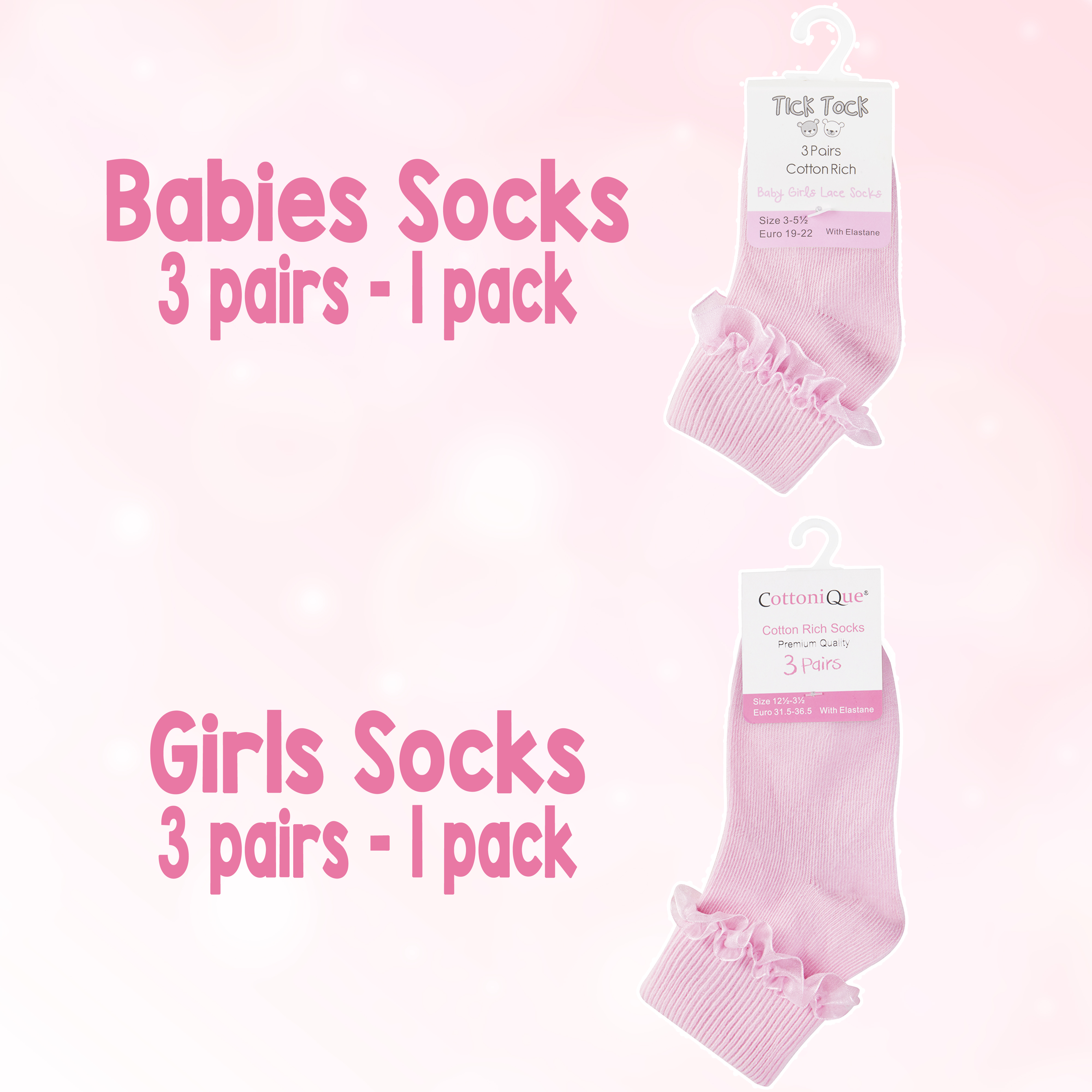 9 Pairs Kids Girls Frilly Plain Lace Ankle Socks Cotton Rich Uniform Sizes 6-8.5 up to 4-5.5 UK