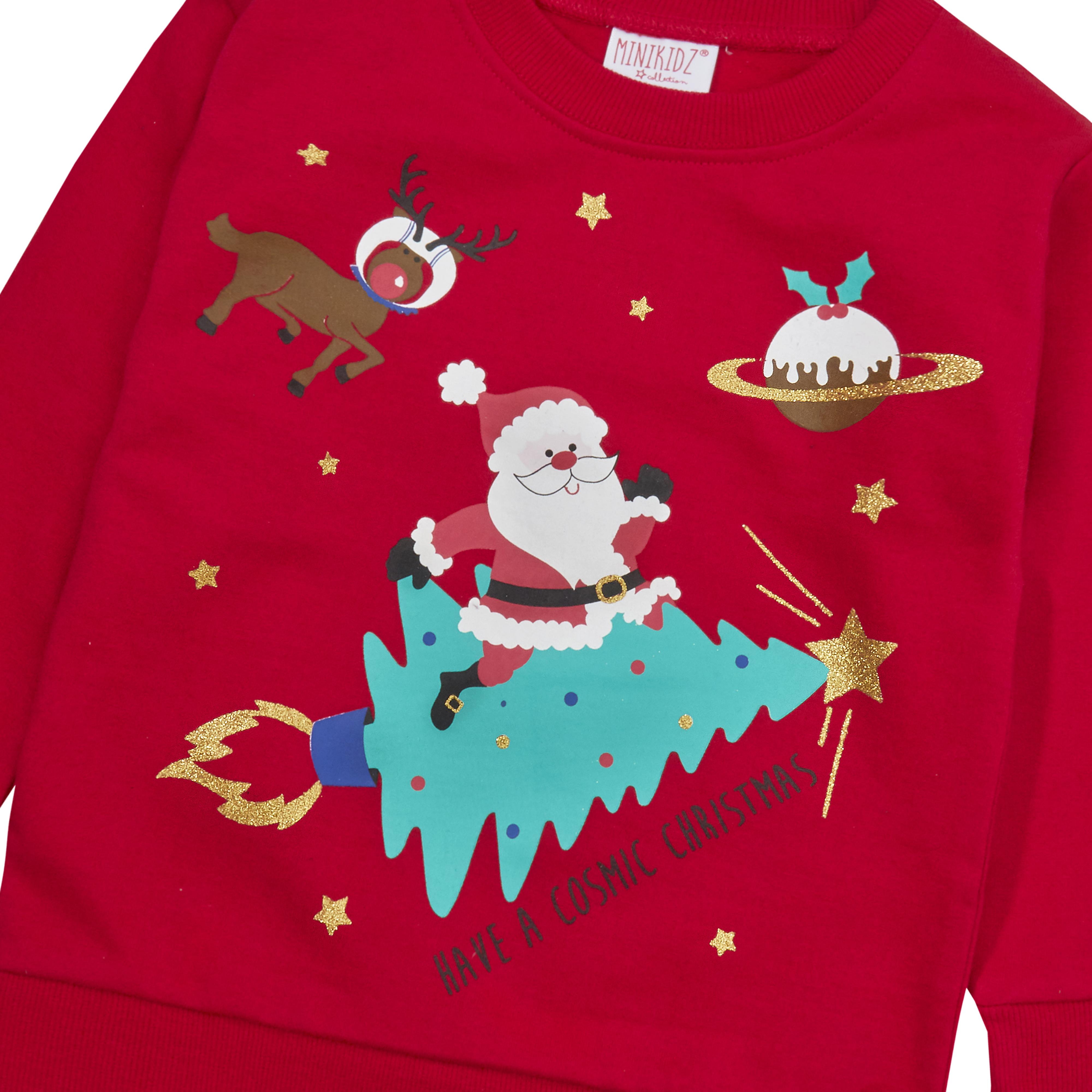 Childrens-Kids-Boys-Girls-Christmas-Xmas-Jumper-Sweatshirt-Rudolph-Glitter-Warm thumbnail 15