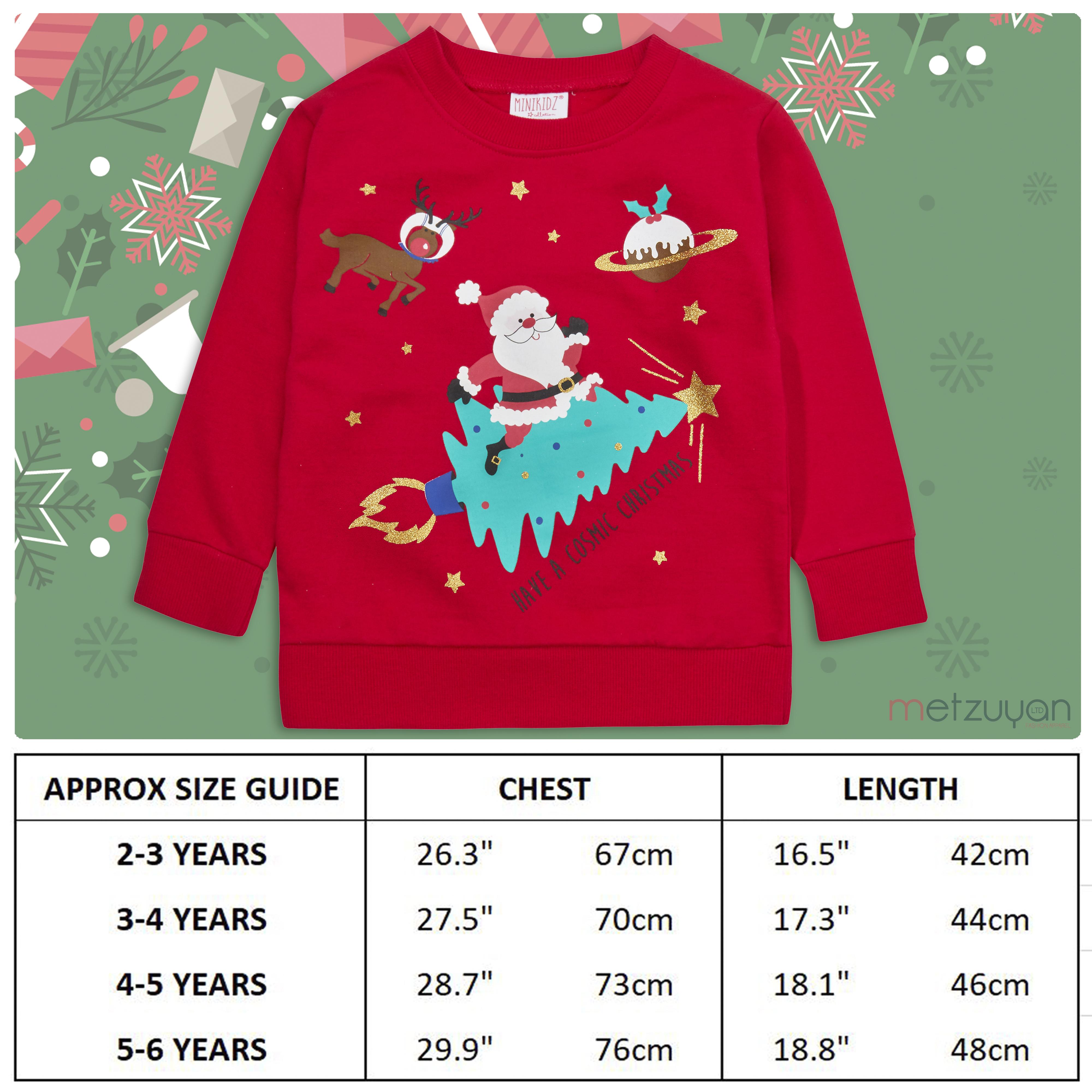 Childrens-Kids-Boys-Girls-Christmas-Xmas-Jumper-Sweatshirt-Rudolph-Glitter-Warm thumbnail 16