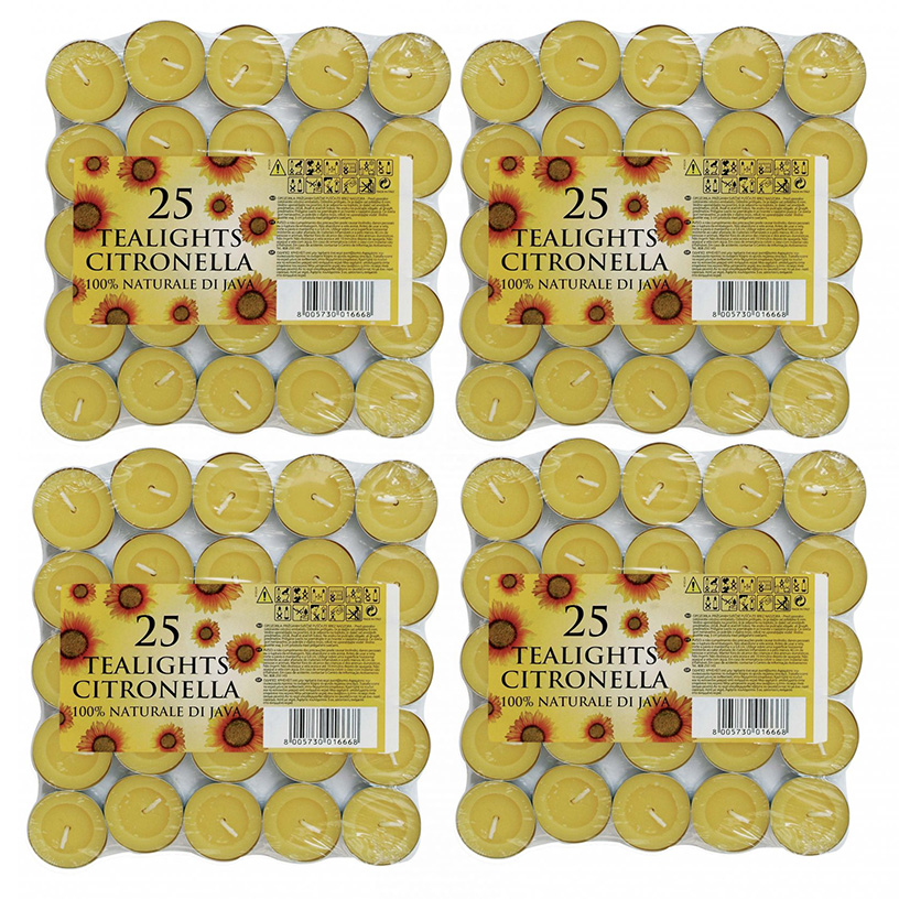 100 Prices Citronella Tealight Candles Mosquito Fly Insect Repeller 4 Pack of 25