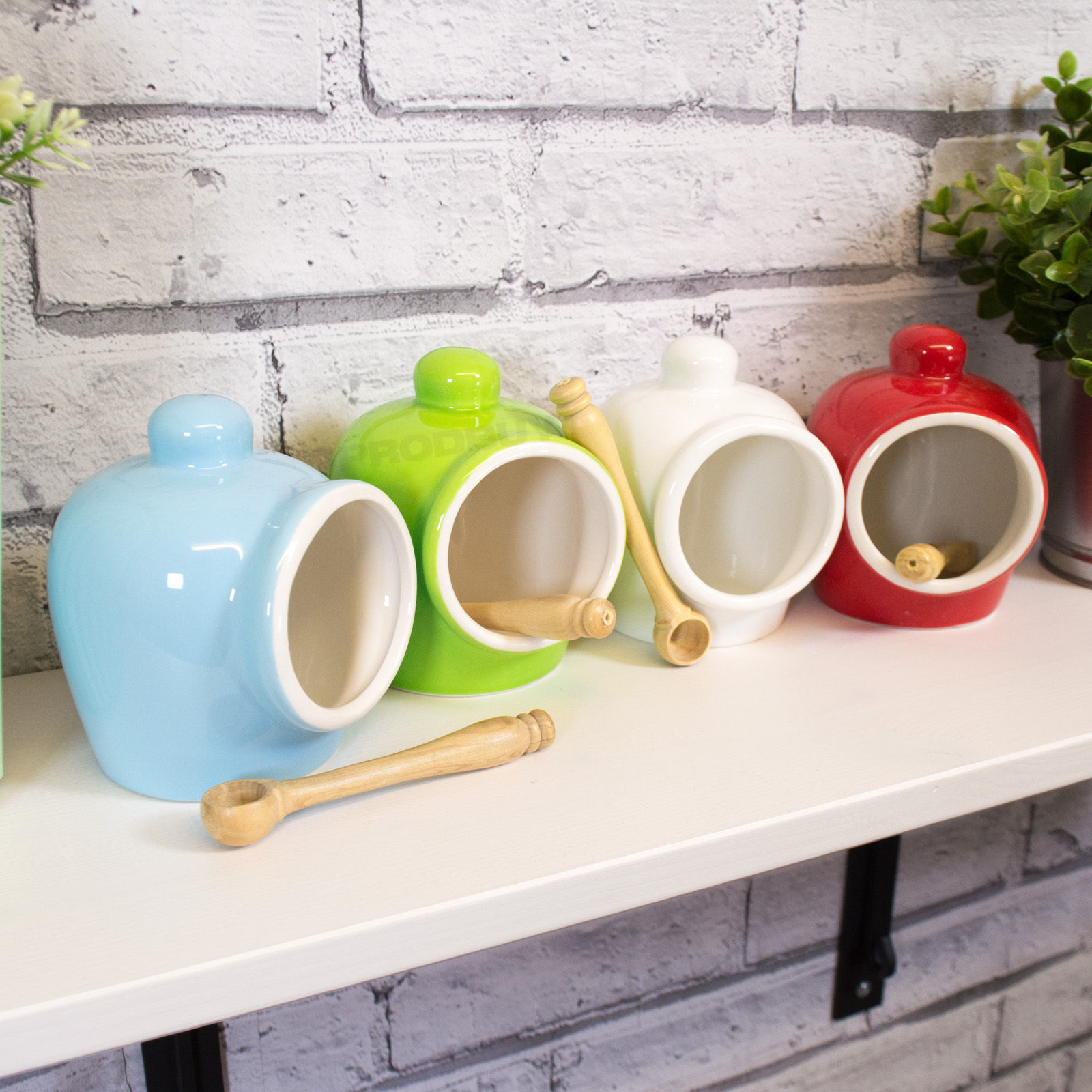 Details About Porcelain Salt Pig Wooden Spoon Storage Jar Canister Caddy Holder Pot Small 11cm