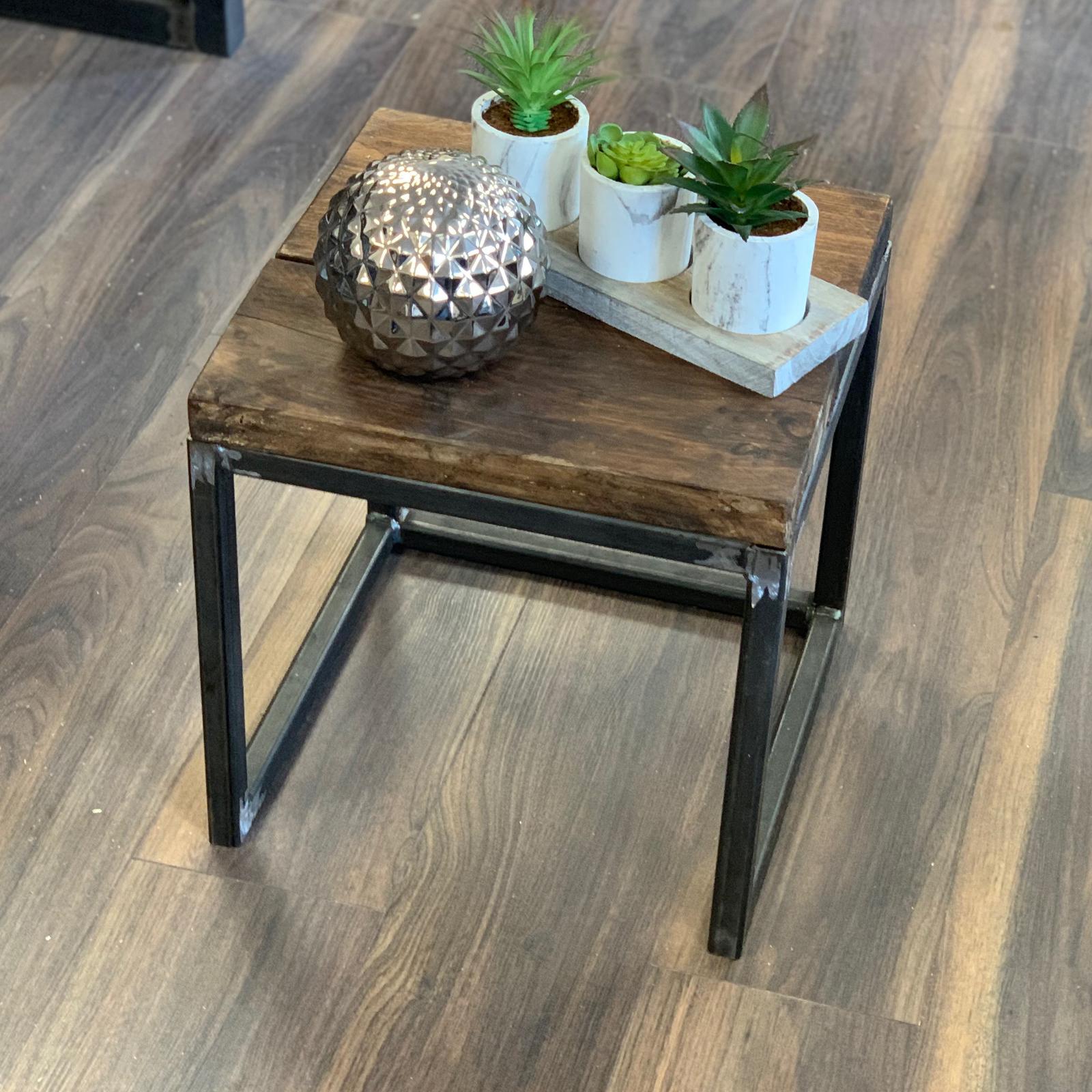Side Table Coffee Rustic Chunky Wood/Metal Base Sleeper Cube Lamp Cabinet