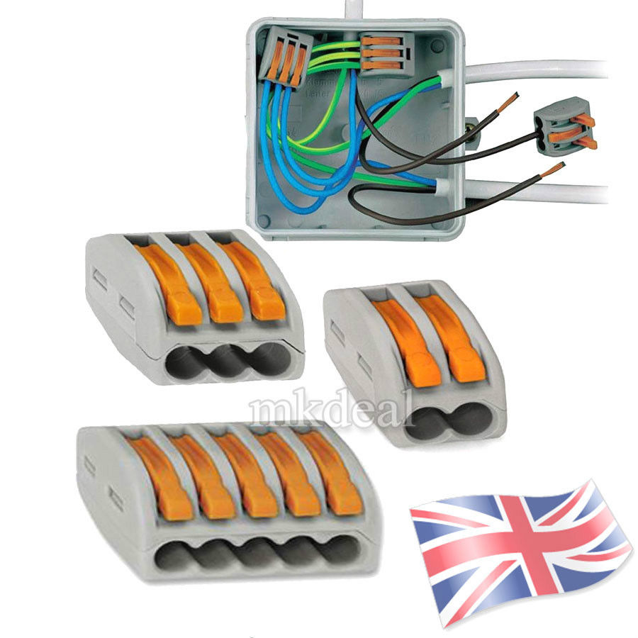 wago 222 electrical connectors wire block clamp terminal cable 12v rh ebay com Speaker Wire Terminal Block Telephone Wire Connector Blocks