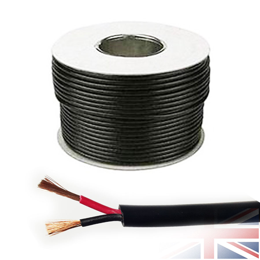 0.75-4.0mm ROUND Wall 2 Twin Core Black/Red Speaker Cable Wire Car ...