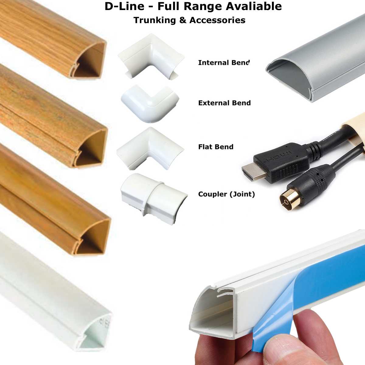 D Line Self Adhesive Trunking Tv Cable Cover Pvc Plastic
