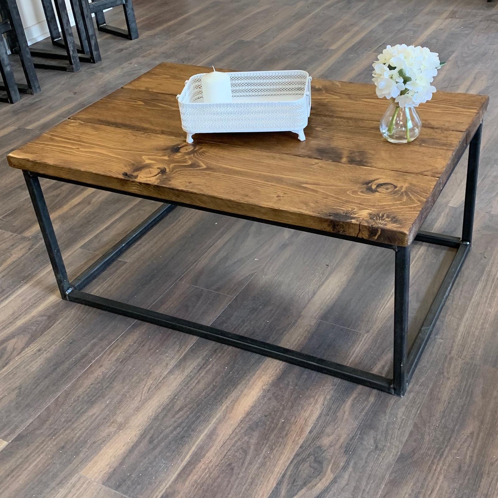 - Coffee Table Solid Wood Rustic Handmade Pine Industrial Welded