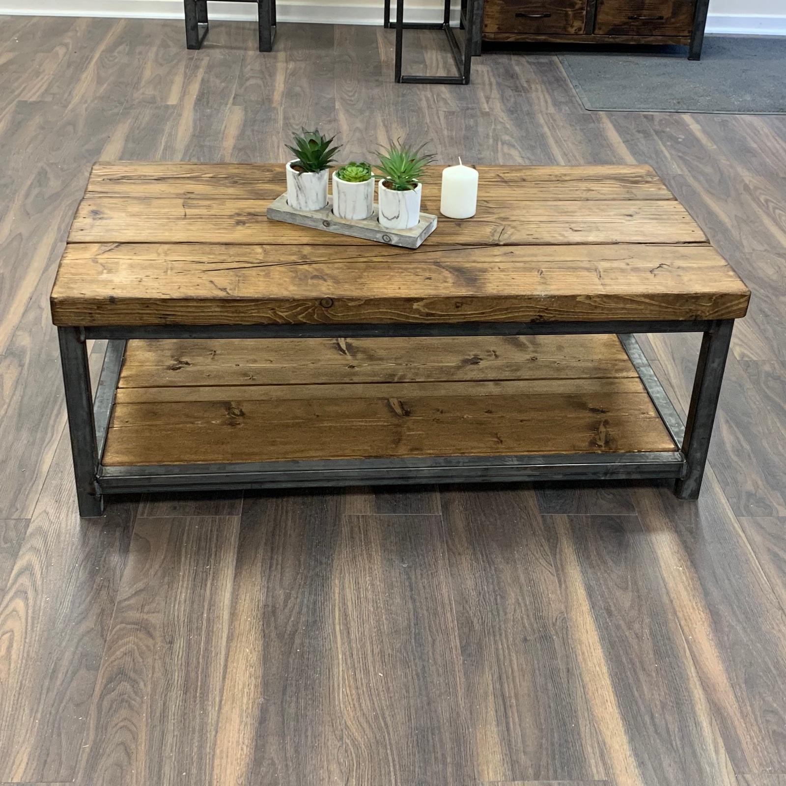- Heavy Coffee Table Solid Wood Rustic Handmade Pine Industrial