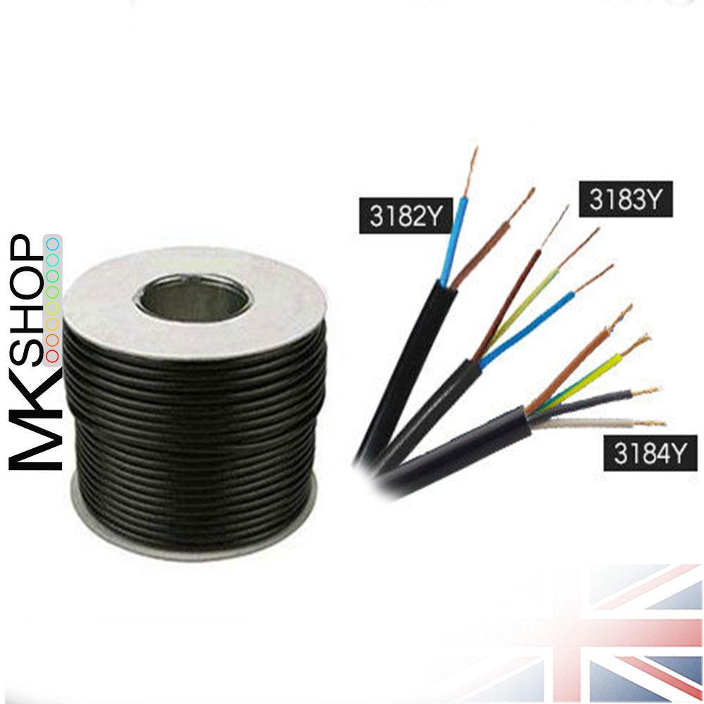 10m POND CABLE 0.75mm BLACK 6A RUBBER FLEX 240v 3 Core Round H05RN-F Wire 3183P