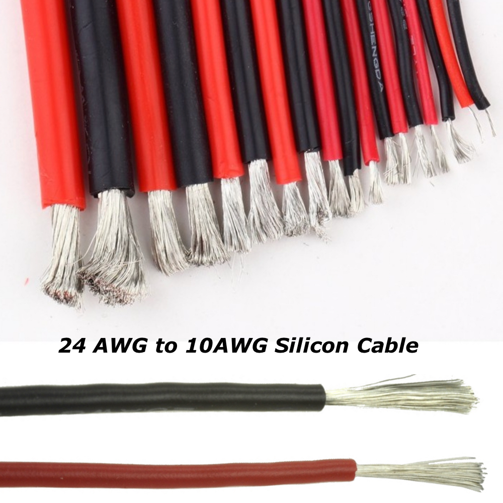 Flexible Soft Silicone Wire Cable 12/14/16/18/20/22 AWG Red Black ...
