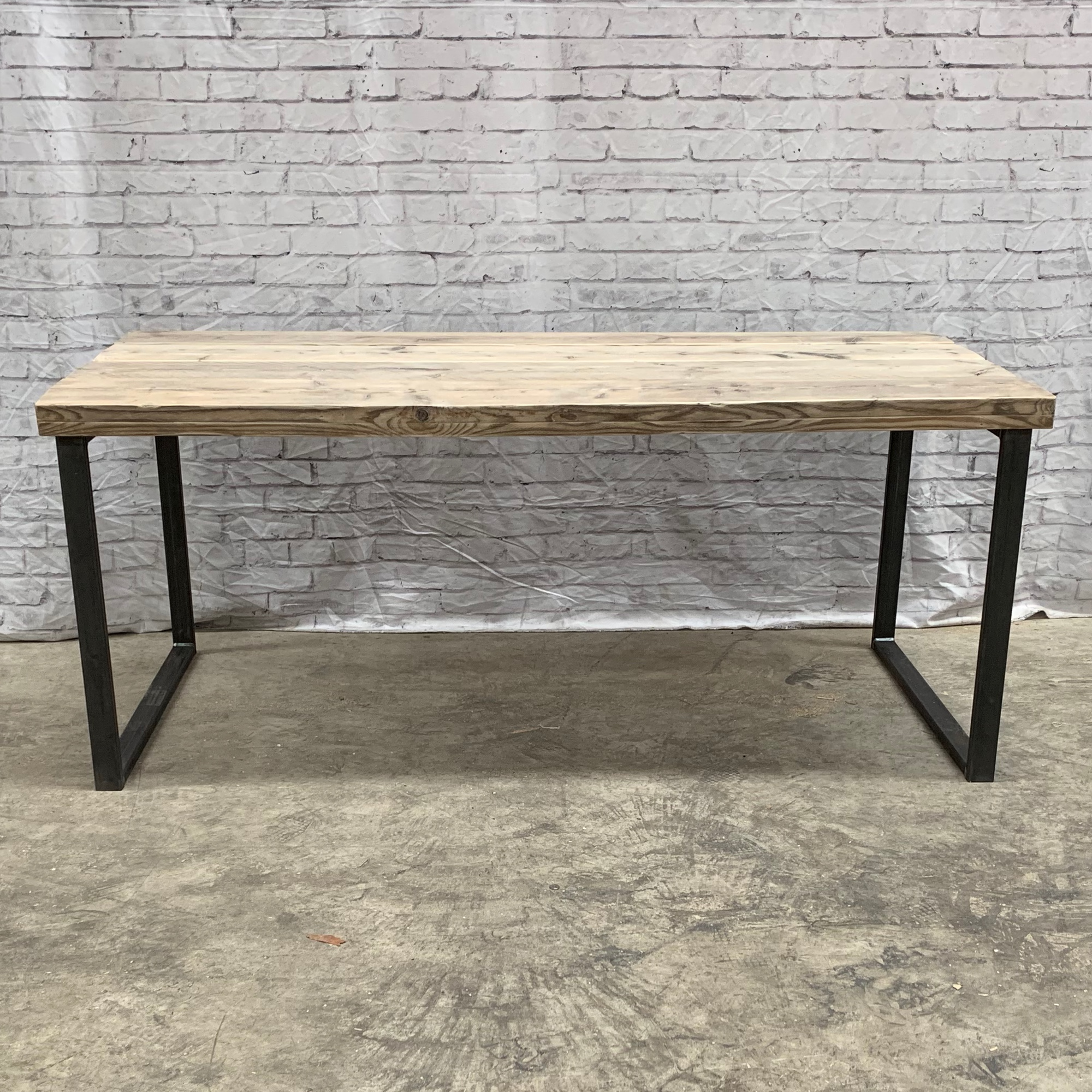 Picture of: Solid Steel Dining Table 4 10 Seater Rustic Industrial Reclaimed Wood Tab10 Ebay