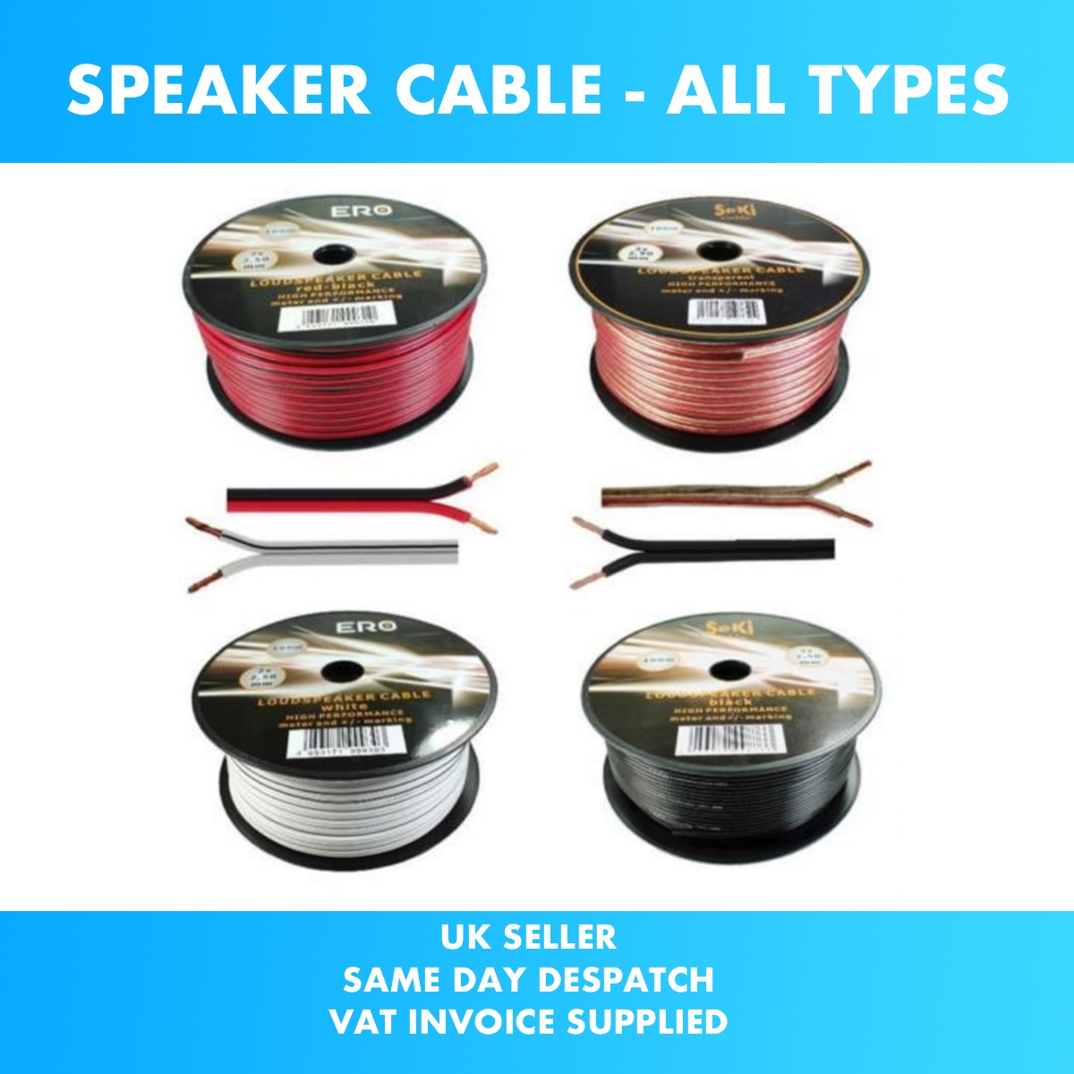 All Sizes Lengths Colours Quality Loud Speaker Cable Wire Car Audio ...
