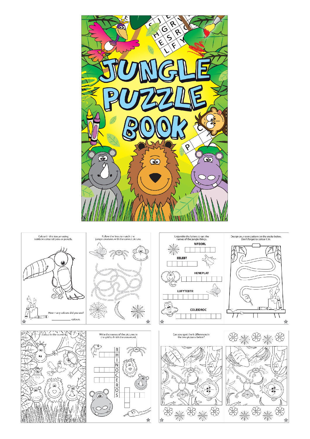 Pinata Toy Loot//Party Bag Fillers Wedding//Kids 12 Jungle Puzzle Books