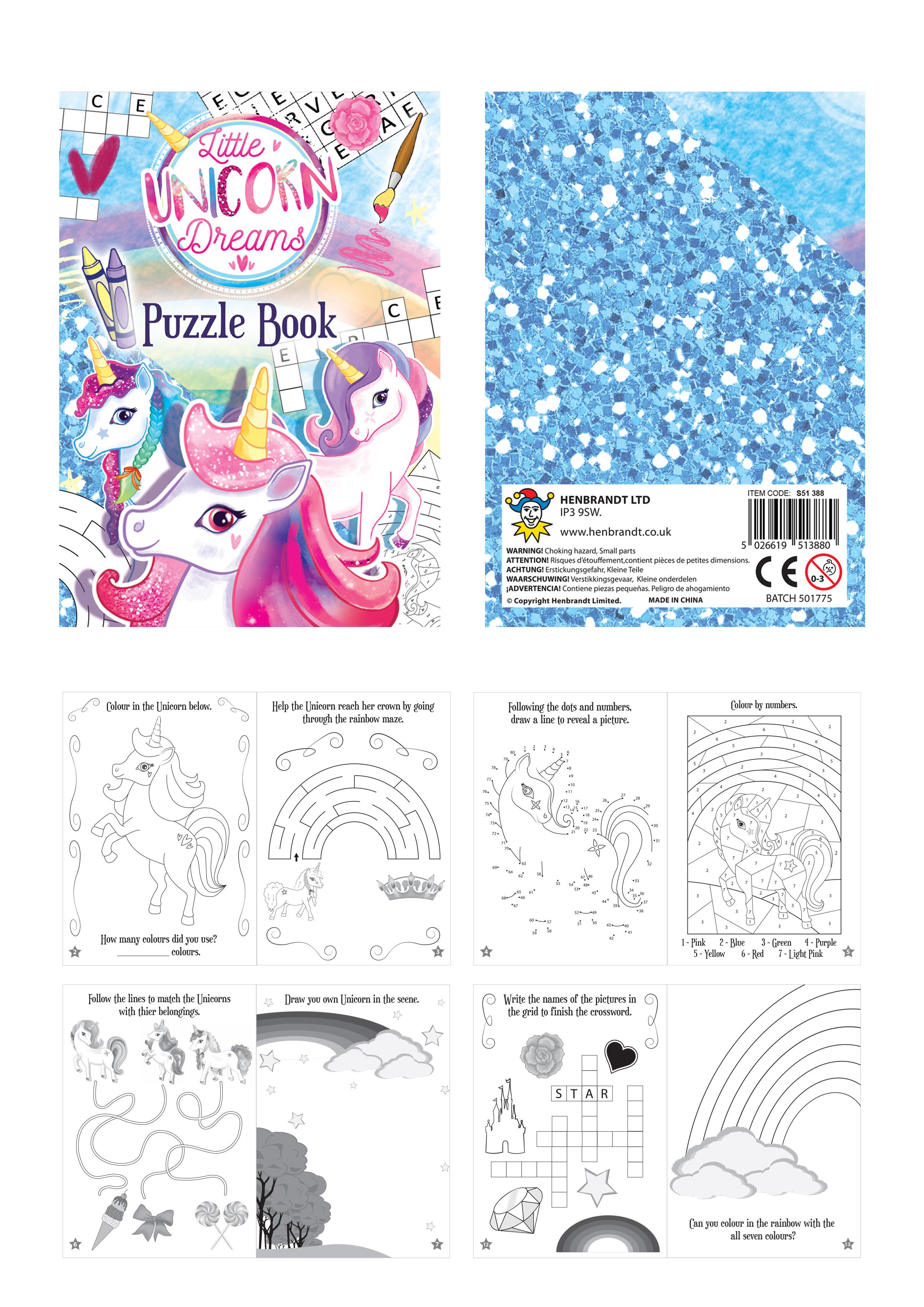 6 Einhorn Puzzle Aktivität Bücher - Pinata Spielzeug Beute ...