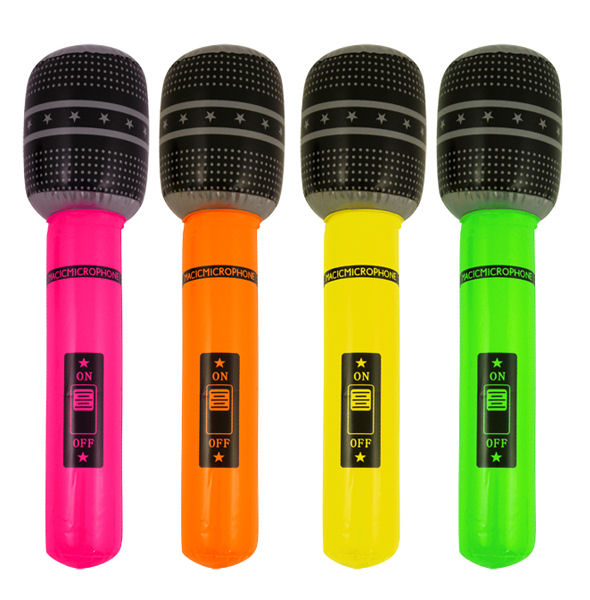 Choose From 4 Colours 40cm Blow Up Rock /& Roll Party Inflatable Microphone