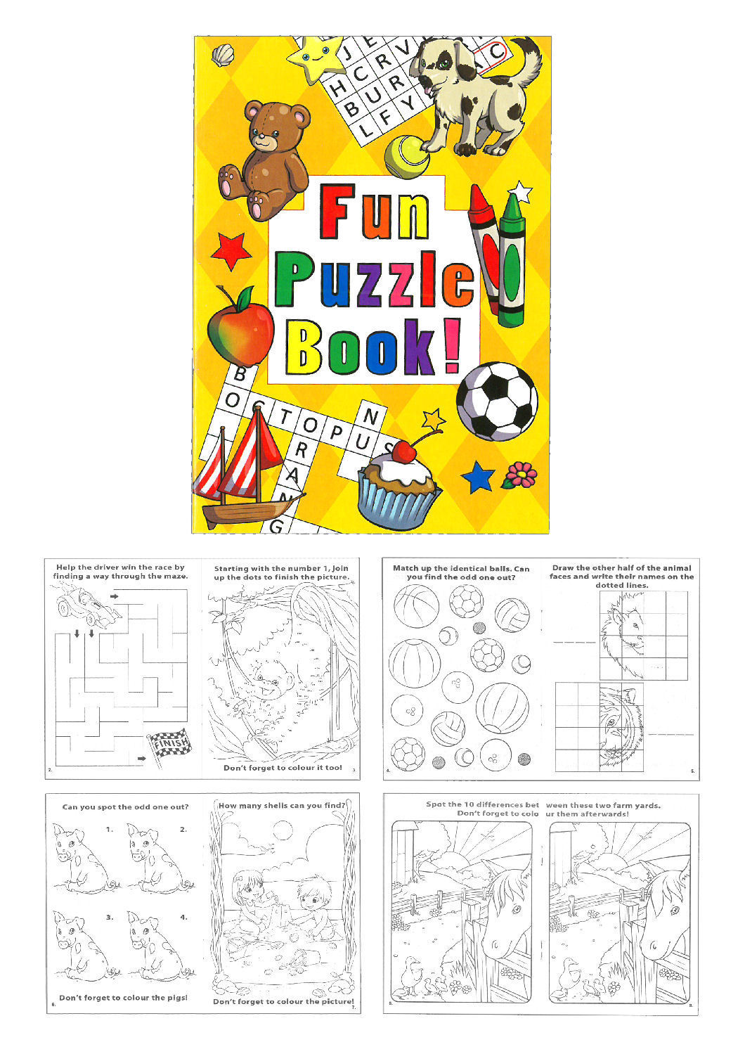 Pinata Toy Loot//Party Bag Fillers Wedding//Kids Children A6 Books 6 Puzzle Fun