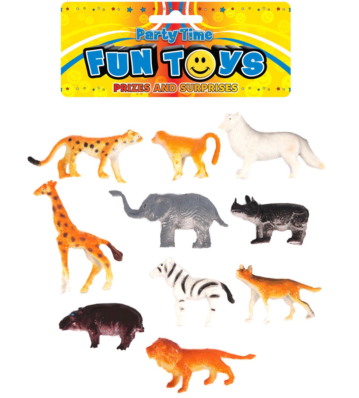 Animaux En Plastique Jouet détails sur 10 plastique jungle animaux - pinata jouet sachet / sac de fête  mariage/enfants
