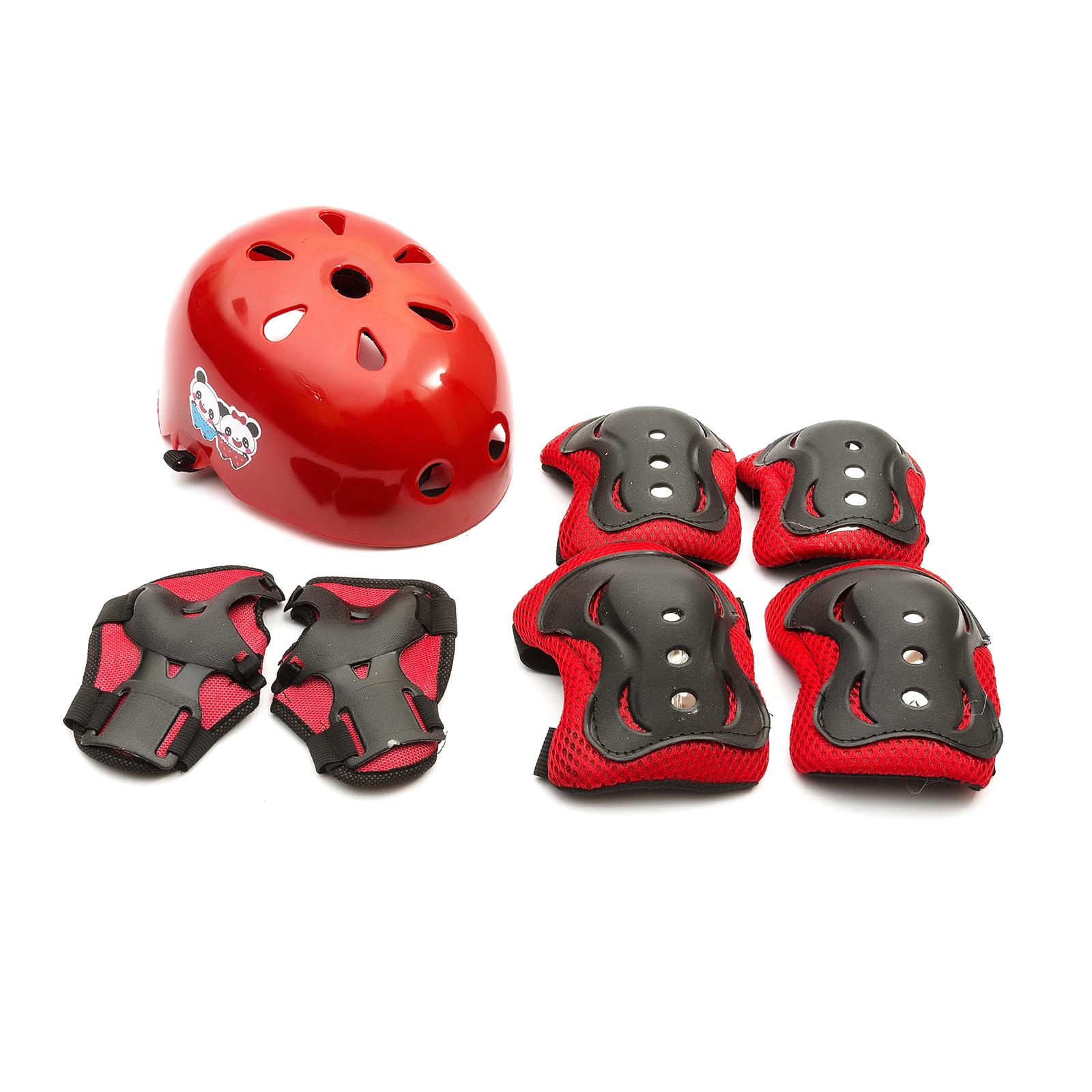Rosso Bambino Protezione Casco Ginocchia Gomito Polso Panno Scooter Balance