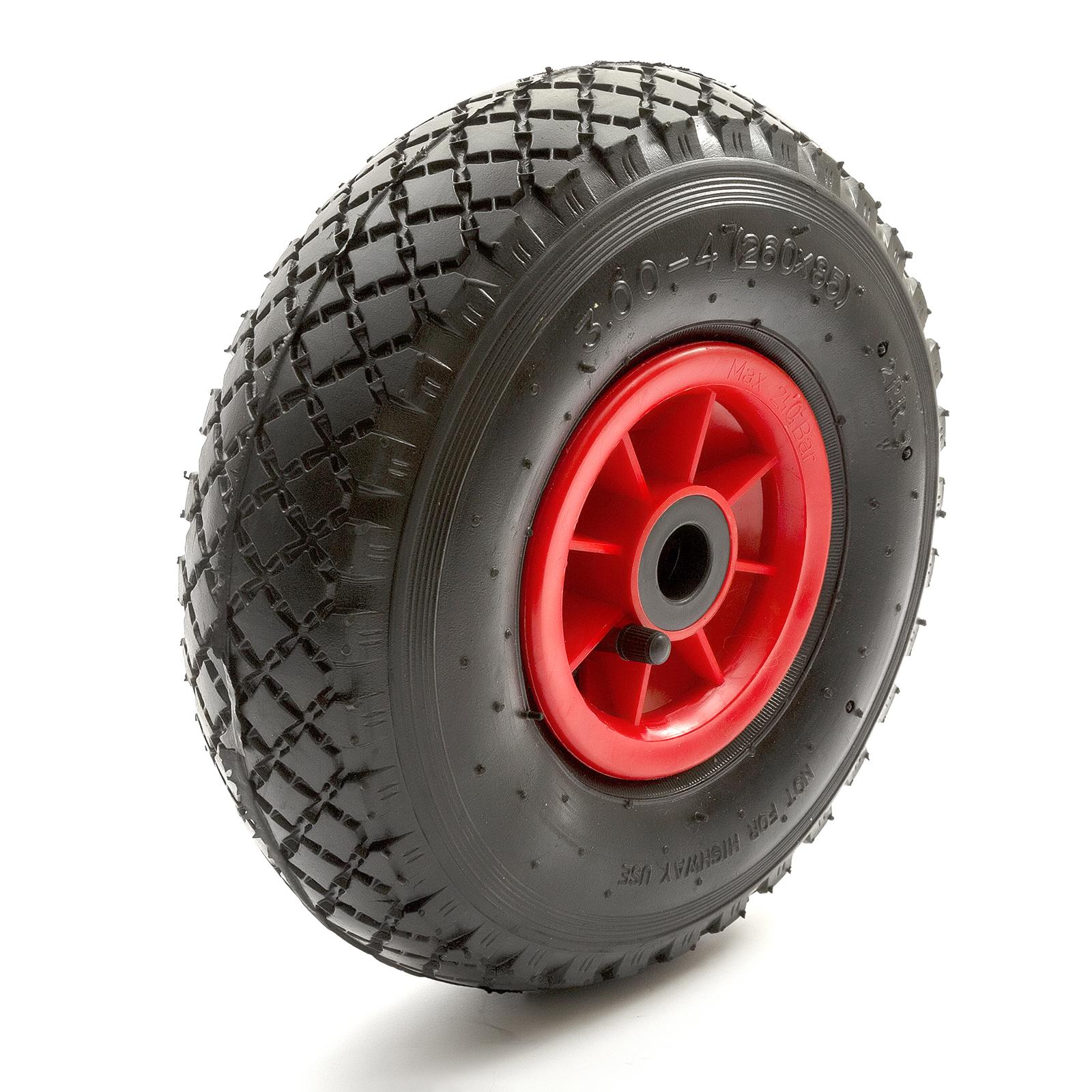 """roue pneu 8 /""""de remplacement en plastique rouge centre pour brouette Tube Intérieur"""