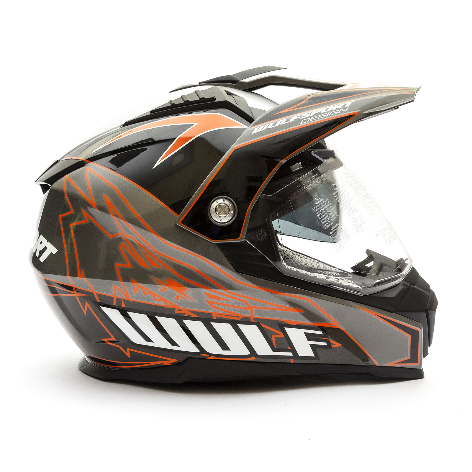 59-60cm Wulfsport 2019 Prima-X Dual Sport Adventure Adult Helmet Road Legal Twin Visor Orange, Adult Large