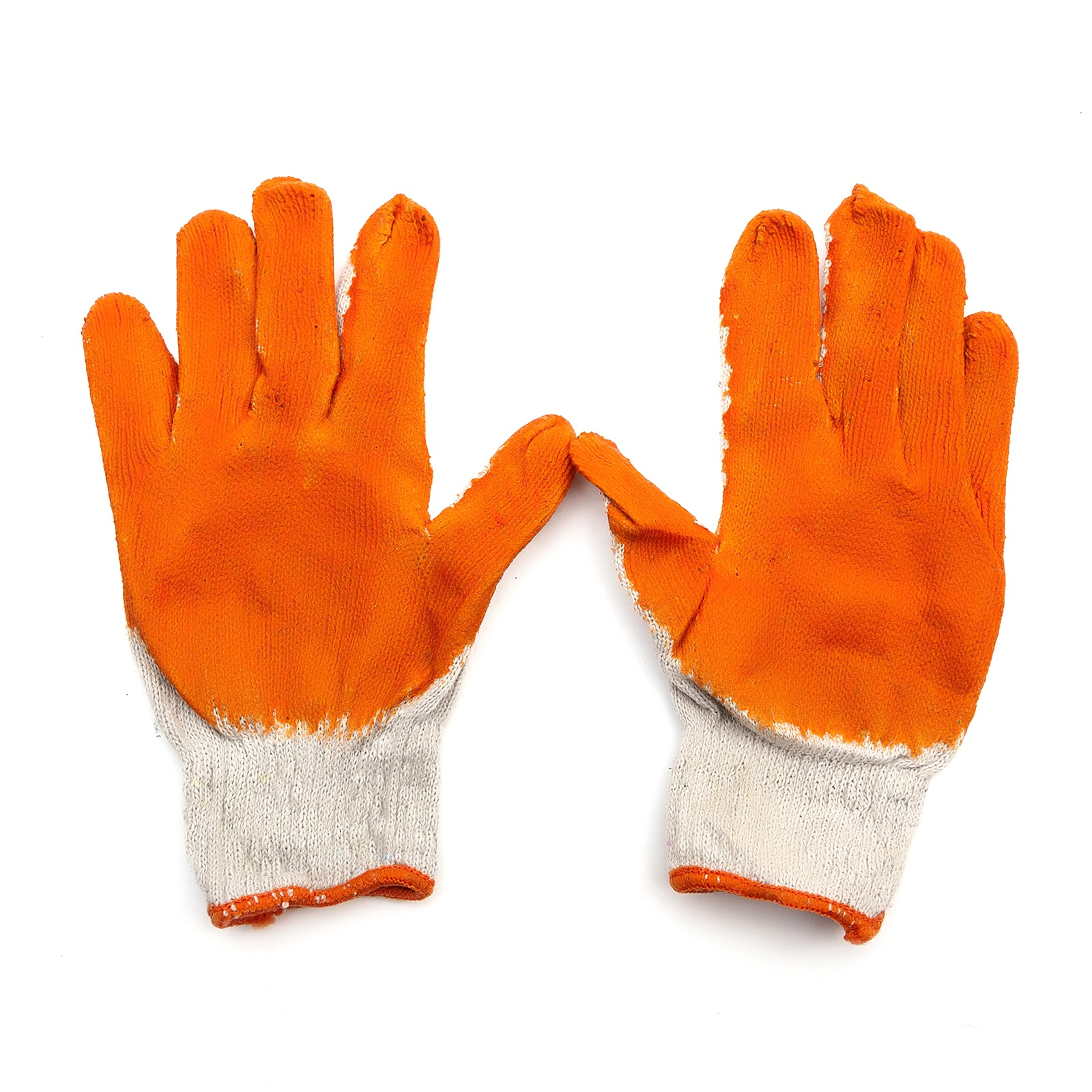 Pack of 10 Loose Fit Cotton Breathable Non Slip Gardening Gloves Orange Adult
