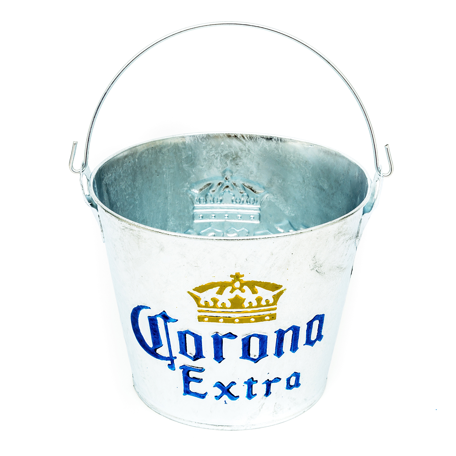 Corona Galvanisiert Stil Metall Eis Eimer Party Drink Halter Kühler Heim bar Pub
