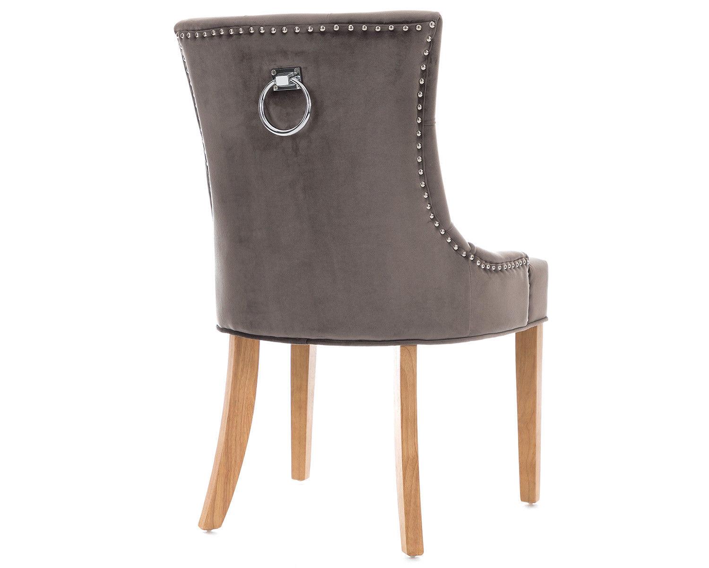 2-Scoop-Button-Back-Dining-Chairs-in-Grey-Velvet-Chrome-Knocker-amp-Oak-Legs thumbnail 6