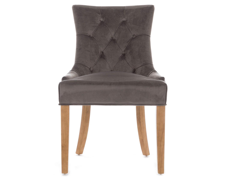 2-Scoop-Button-Back-Dining-Chairs-in-Grey-Velvet-Chrome-Knocker-amp-Oak-Legs thumbnail 2