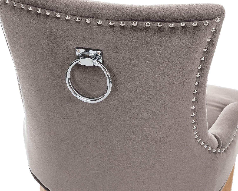 2-Scoop-Button-Back-Dining-Chairs-in-Grey-Velvet-Chrome-Knocker-amp-Oak-Legs thumbnail 8