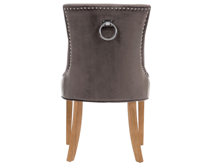2-Scoop-Button-Back-Dining-Chairs-in-Grey-Velvet-Chrome-Knocker-amp-Oak-Legs thumbnail 5