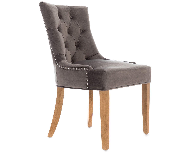 2-Scoop-Button-Back-Dining-Chairs-in-Grey-Velvet-Chrome-Knocker-amp-Oak-Legs thumbnail 3