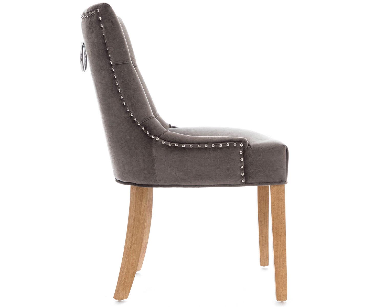 2-Scoop-Button-Back-Dining-Chairs-in-Grey-Velvet-Chrome-Knocker-amp-Oak-Legs thumbnail 4