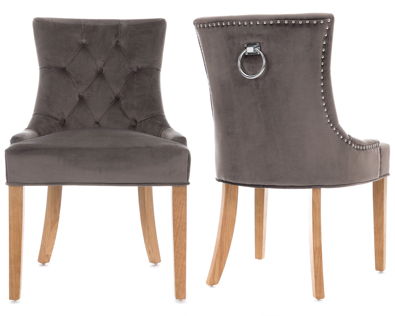 Details About 2 Scoop Button Back Dining Chairs In Grey Velvet Chrome Knocker Oak Legs