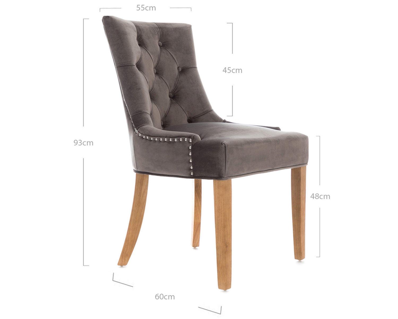 2-Scoop-Button-Back-Dining-Chairs-in-Grey-Velvet-Chrome-Knocker-amp-Oak-Legs thumbnail 7