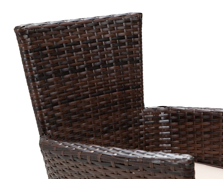 Rattan Garden Furniture Brown Set 6 Seats Round Table ...