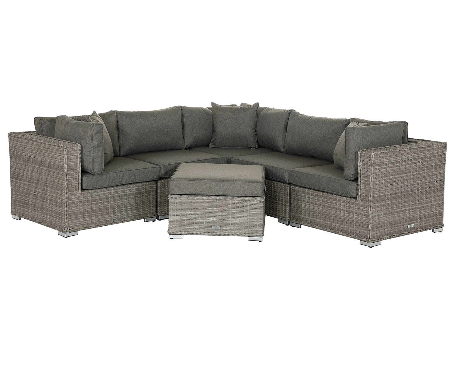 Sensational Details About Rattan Corner Sofa Set Florida 6Pc Modular Garden Furniture In Grey Footstool Onthecornerstone Fun Painted Chair Ideas Images Onthecornerstoneorg