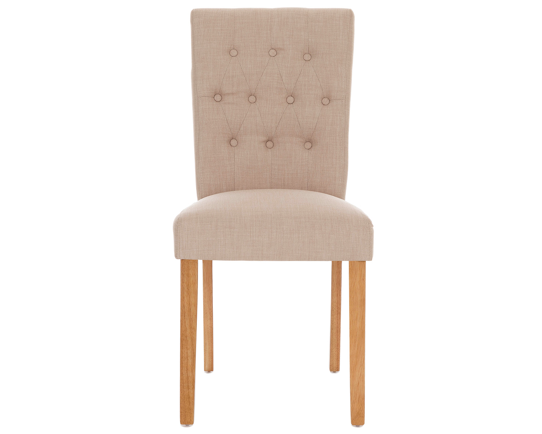 Button Back Dining Chairs Cream Linen Amp Oak Legs Pair