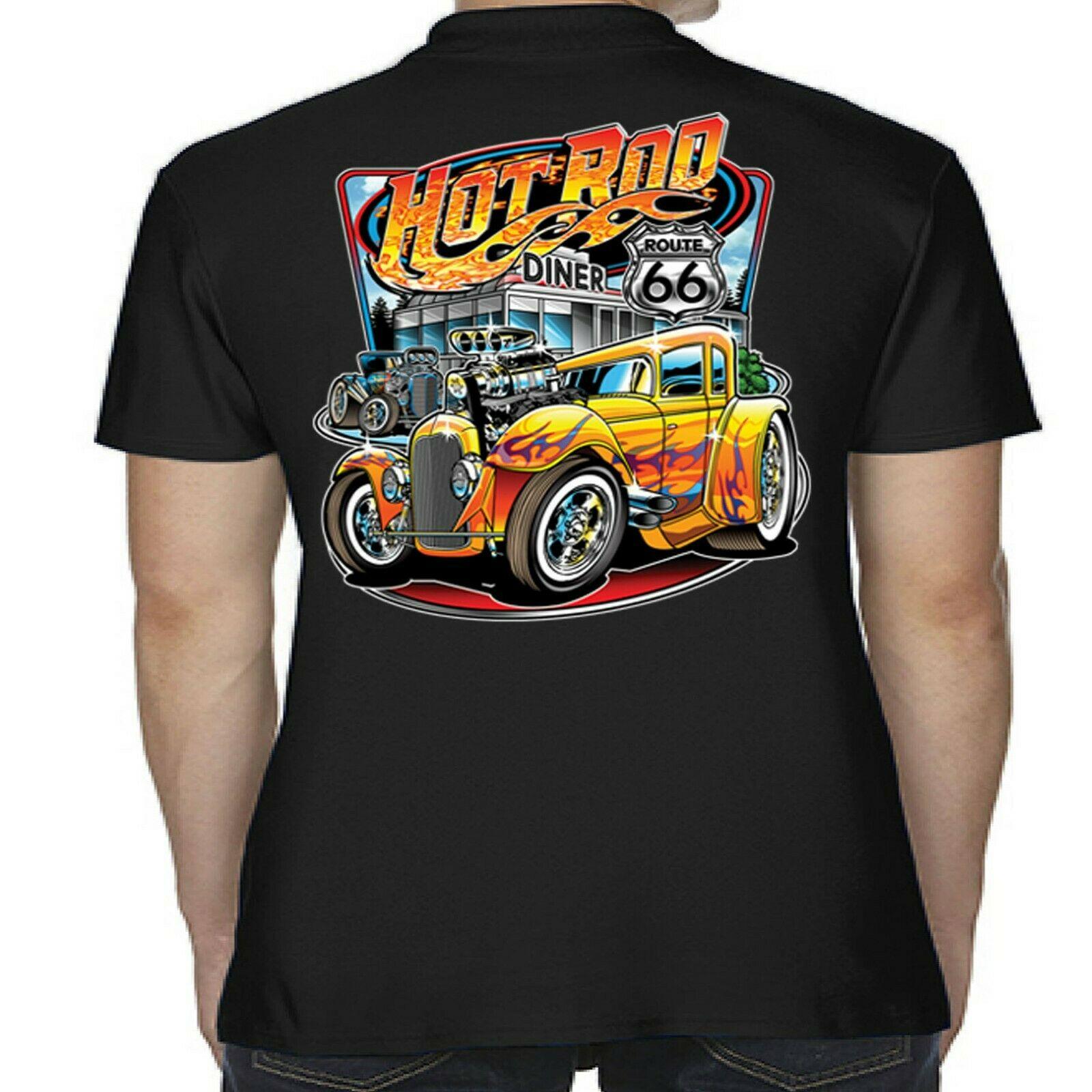 Men/'s Hotrod 58 Hot Rat Rod Polo Shirt American Classic Vintage Car Shirts 97