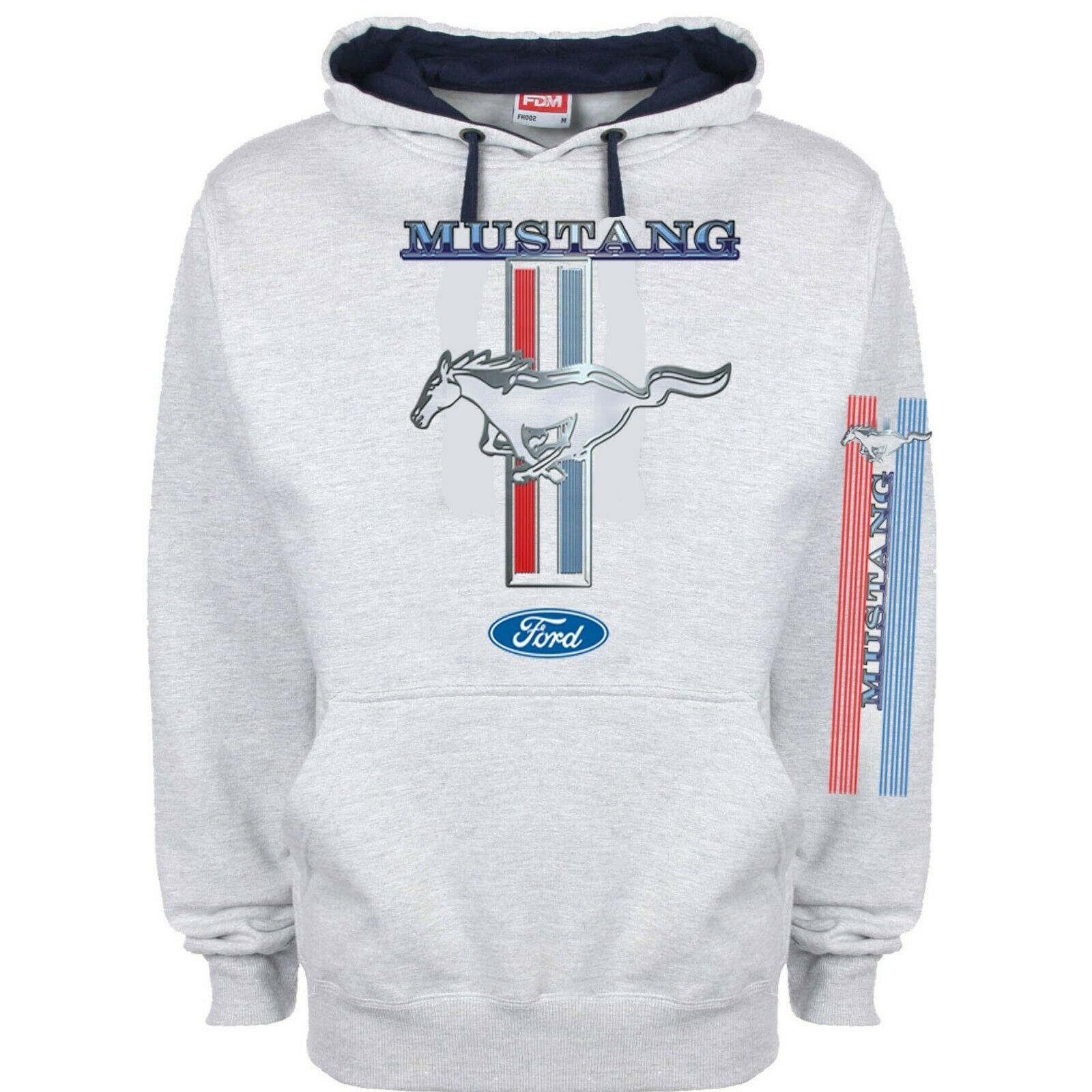 Felpa con Cappuccio Uomo Pullover Hoodie Sweatshirt Maglietta Maniche Lunghe Mustang 1968