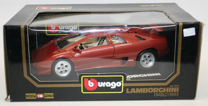 Lamborghini Diablo 1990 >> Details About Burago 1 18 Scale Diecast Model Car 3041 Lamborghini Diablo 1990 Bronze
