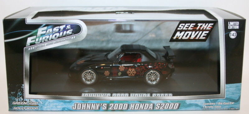 THE FAST AND FURIOUS 2001 JOHNNY/'S 2000 HONDA S2000 BLACK 1//43 GREENLIGHT 86205