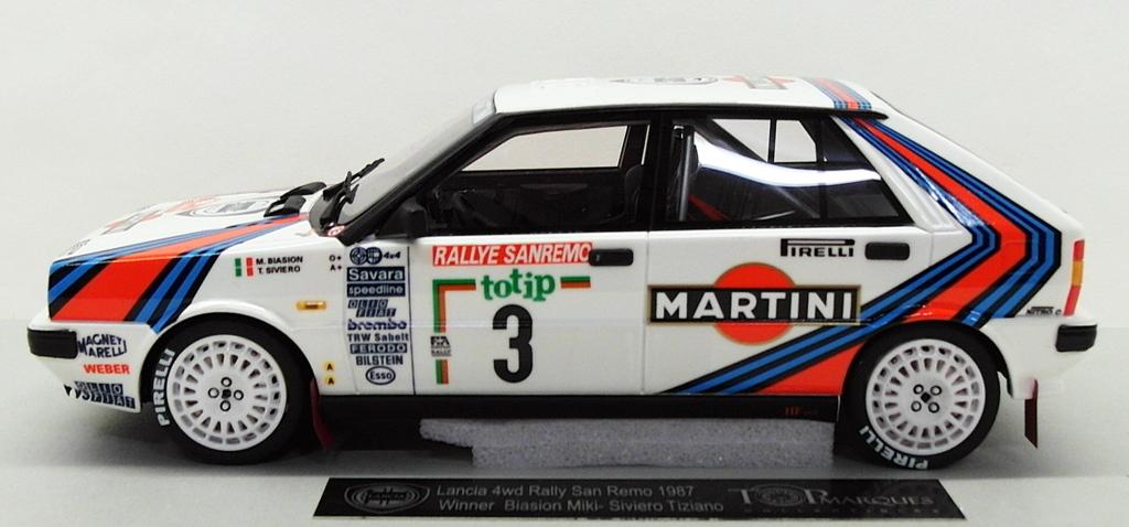 Lancia Delta HF 4wd Martini Rallye san remo 1987 Biasion 1:18 top marques nuevo