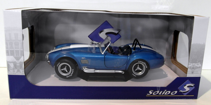 SOLIDO S1850017 1965 SHELBY COBRA A//C 427 MKII 1//18 with WHITE STRIPES BLUE