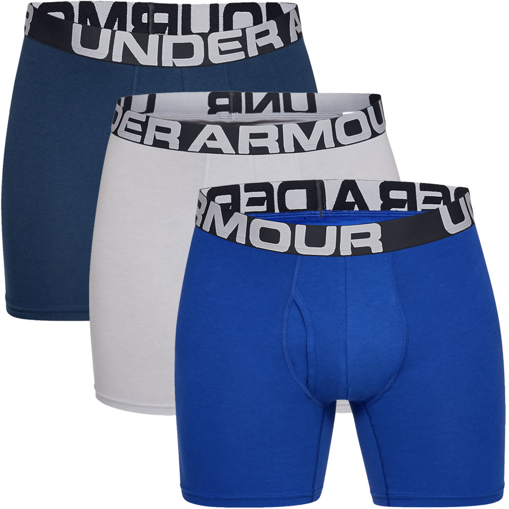 """Under Armour Charged Cotton 6"""" Boxerjock 3 Mens Boxer Shorts  - Royal/Academy/Grey"""