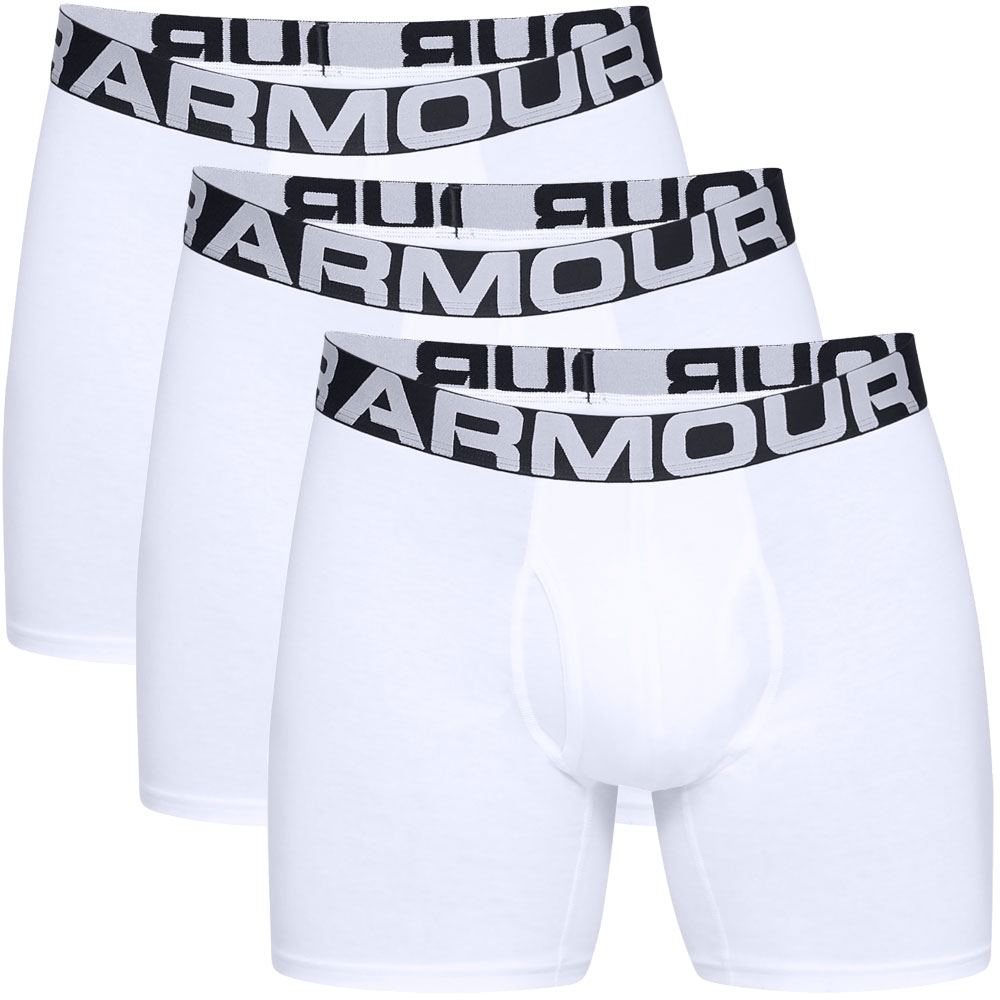 "Under Armour Charged Cotton 6"" Boxerjock 3 Mens Boxer Shorts  - White"