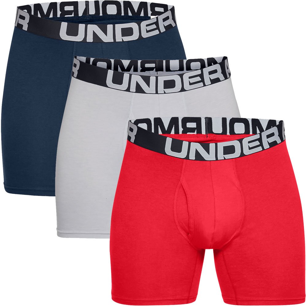 """Under Armour Charged Cotton 6"""" Boxerjock 3 Mens Boxer Shorts  - Red/Academy/Grey"""