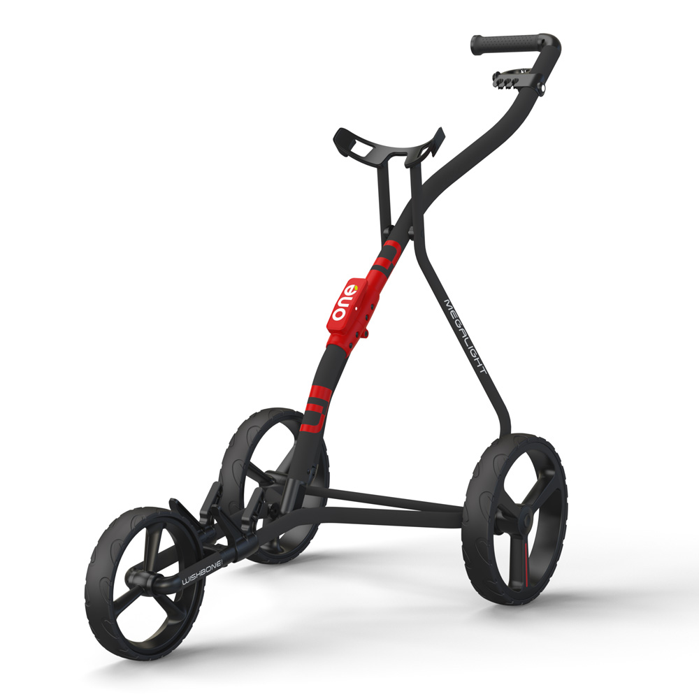Wishbone One Megalite Golf Trolley + 2 Free Gifts  - Charcoal/Red