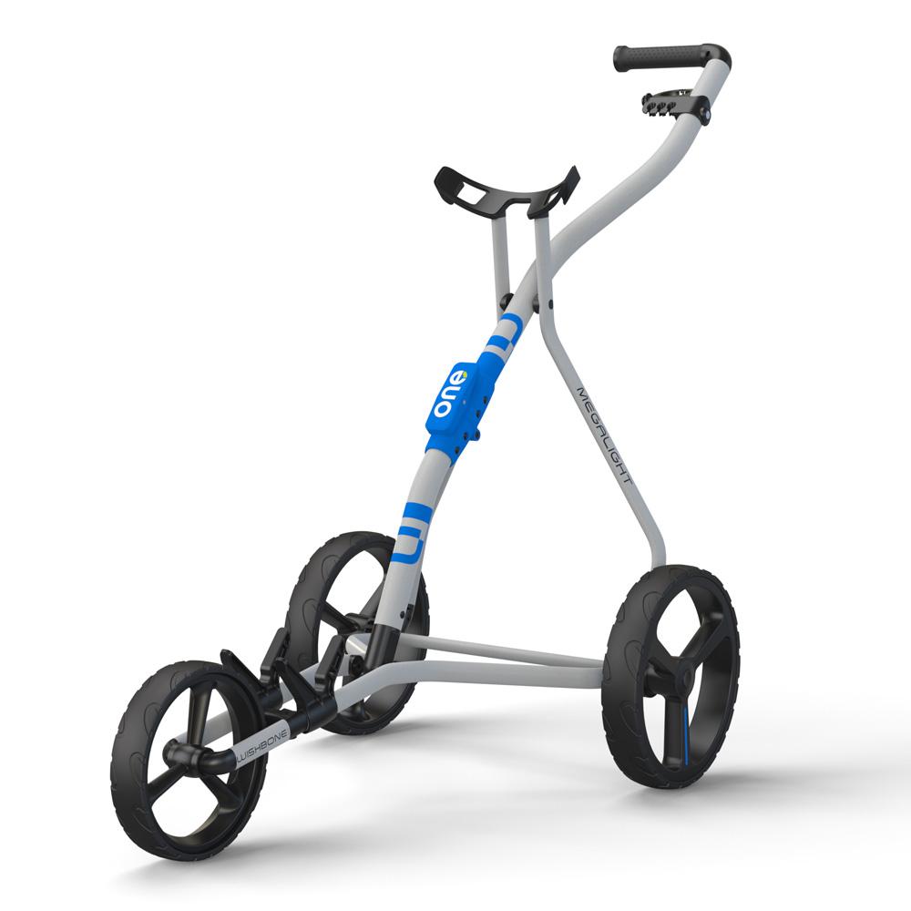 Wishbone One Megalite Golf Trolley + 2 Free Gifts  - White/Blue