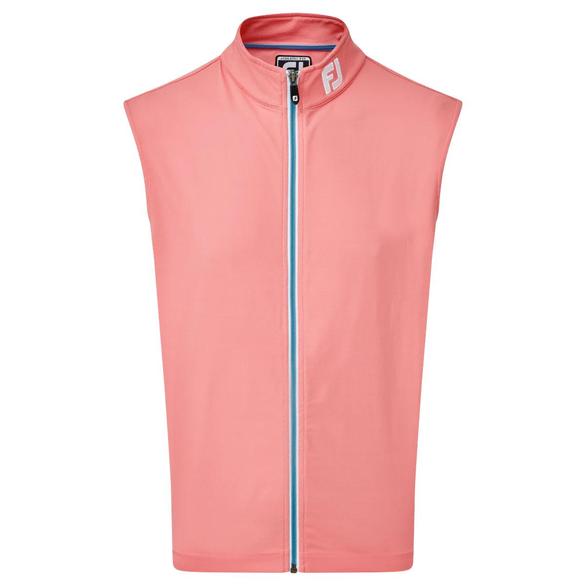 FootJoy Full Zip Knit Vest Mens Golf Gilet  - Cape Red