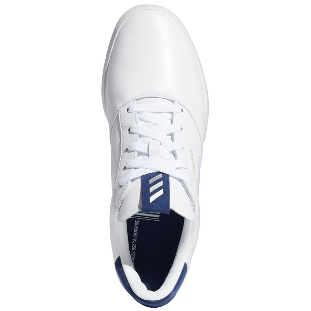adidas Adicross Retro Mens Spikeless Golf Shoes (White/Silver Metallic/Tech Indigo)
