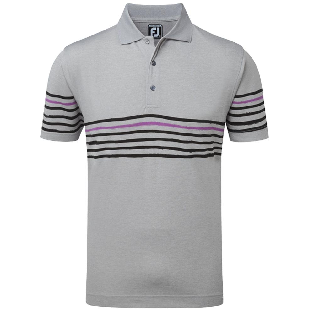 Footjoy mens stretch pique golf polo shirt with painted for Stretch polo shirt mens